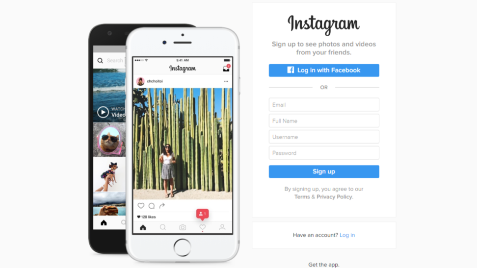 sign up to instagram online